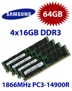 4x 16GB = 64GB KIT DDR3 RAM 1866 Mhz PC3-14900R ECC REG DIMM