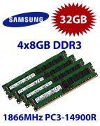 4x 8GB = 32GB KIT DDR3 RAM 1866 Mhz PC3-14900R ECC REG DIMM