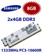 2x 4GB = 8GB KIT DDR3 RAM 1333 Mhz PC3-10600R ECC REG DIMM