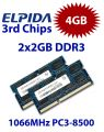 2x 2GB = 4GB KIT DDR3 RAM 1066 Mhz PC3-8500 SO-DIMM