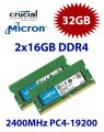 2x 16GB = 32GB KIT DDR4 RAM PC4-19200 2400MHz SO-DIMM