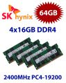 4x 16GB = 64GB KIT DDR4 RAM PC4-19200 2400MHz SO-DIMM