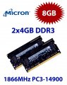 2x 4GB = 8GB KIT DDR3L RAM 1866 Mhz PC3-14900 SO-DIMM