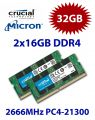 2x 16GB = 32GB KIT DDR4 RAM PC4-21300 2666Hz SO-DIMM