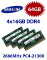 4x 16GB = 64GB KIT DDR4 RAM PC4-21300 2666MHz SO-DIMM