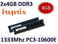 2x 4GB = 8GB KIT DDR3 RAM 1333 Mhz PC3-10600E ECC DIMM