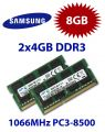 2x 4GB = 8GB KIT DDR3 RAM 1066 Mhz PC3-8500 SO-DIMM