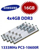 4x 4GB = 16GB KIT DDR3 RAM 1333 Mhz PC3-10600R ECC REG DIMM