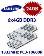 6x 4GB = 24GB KIT DDR3 RAM 1333 Mhz PC3-10600R ECC REG DIMM
