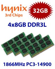 4x 8GB = 32GB KIT DDR3L RAM 1866 Mhz PC3-14900 SO-DIMM