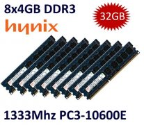 8x 4GB = 32GB KIT DDR3 RAM 1333 Mhz PC3-10600E ECC DIMM