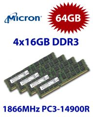 4x 16GB = 64GB KIT DDR3 RAM 1866Mhz PC3-14900R ECC REG DIMM