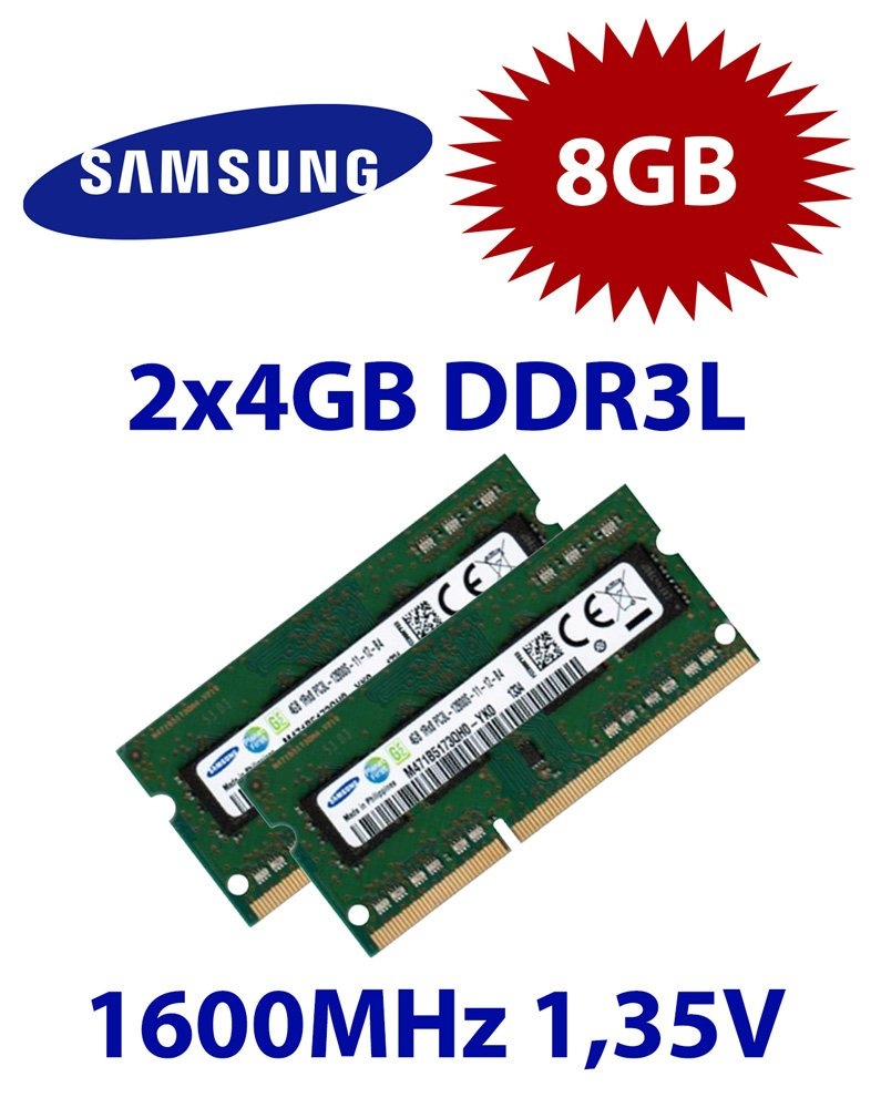 Samsung 2x 4gb 8gb Kit Ddr3l Ram 1600 Mhz Pc3 12800 So Dimm Sodim Ddr 3