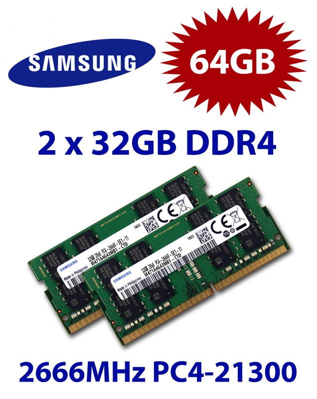 Samsung 2x 32GB = 64GB KIT DDR4 RAM 2666 Mhz PC4-21300 SO