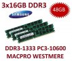 3x 16GB = 48GB KIT DDR3 RAM 1333 Mhz PC3-10600R ECC REG DIMM