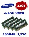 4x 8GB = 32GB KIT DDR3L RAM 1600 Mhz PC3-12800 SO-DIMM
