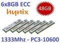 6x 8GB = 48GB KIT DDR3 RAM 1333 Mhz PC3-10600R ECC REG DIMM
