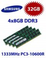 4x 8GB = 32GB KIT DDR3 RAM 1333 Mhz PC3-10600R ECC REG DIMM