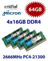 4x 16GB = 64GB KIT DDR4 RAM PC4-21300 2666Hz SO-DIMM