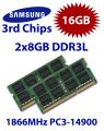 2x 8GB = 16GB KIT DDR3L RAM 1866 Mhz PC3-14900 SO-DIMM