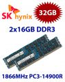 2x 16GB = 32GB KIT DDR3 RAM 1866 Mhz PC3-14900R ECC REG DIMM